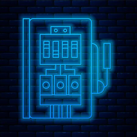 Glowing neon line Electrical panel icon isolated on brick wall background. Vector Illustration Çizim