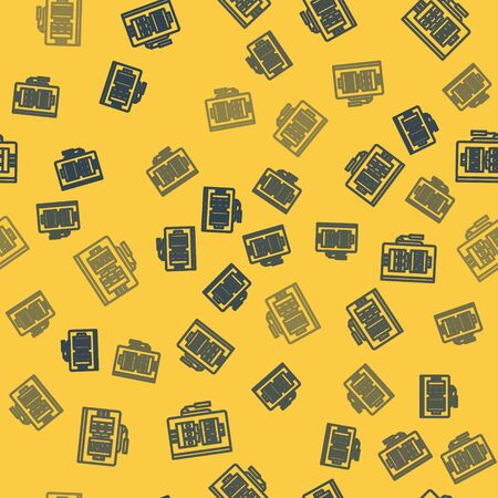 Blue line Electrical panel icon isolated seamless pattern on yellow background. Vector Illustration Çizim