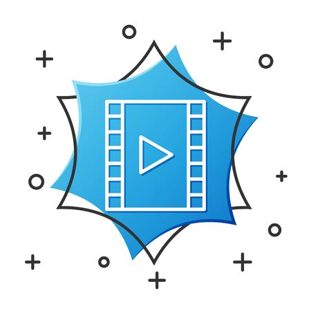 White line Play Video icon isolated on white background. Film strip with play sign. Blue hexagon button. Vector Illustration Çizim