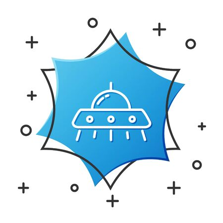 White line UFO flying spaceship icon isolated on white background. Flying saucer. Alien space ship. Futuristic unknown flying object. Blue hexagon button. Vector Illustration