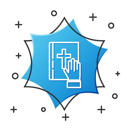 White line Oath on the Holy Bible icon isolated on white background. The procedure in court. Truth and truth. Promise before god. Blue hexagon button. Vector Illustration