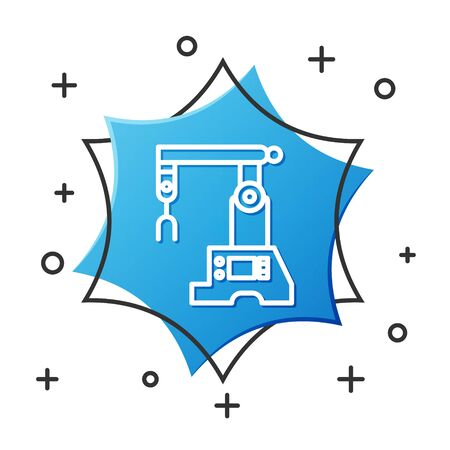 White line Assembly line icon isolated on white background. Automatic production conveyor. Robotic industry concept. Blue hexagon button. Vector Illustration