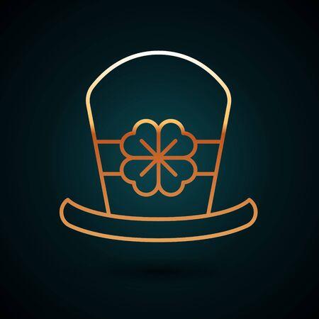 Gold line Leprechaun hat and four leaf clover icon isolated on dark blue background. Happy Saint Patricks day.  Vector Illustration Illustration