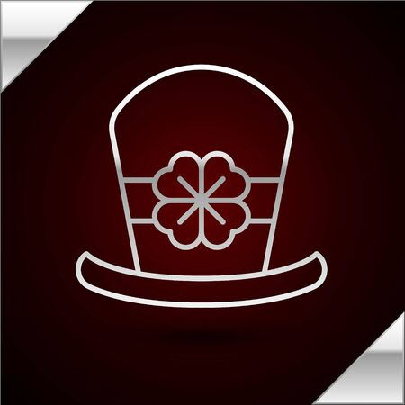 Silver line Leprechaun hat and four leaf clover icon isolated on dark red background. Happy Saint Patricks day.  Vector Illustration