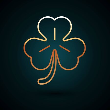 Gold line Four leaf clover icon isolated on dark blue background. Happy Saint Patrick day. Vector Illustration