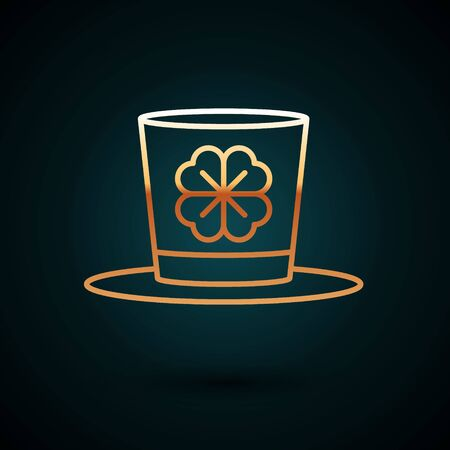 Gold line Leprechaun hat and four leaf clover icon isolated on dark blue background. Happy Saint Patricks day. Vector Illustration