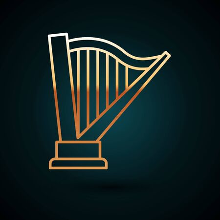 Gold line Harp icon isolated on dark blue background. Classical music instrument, orhestra string acoustic element. Vector Illustration