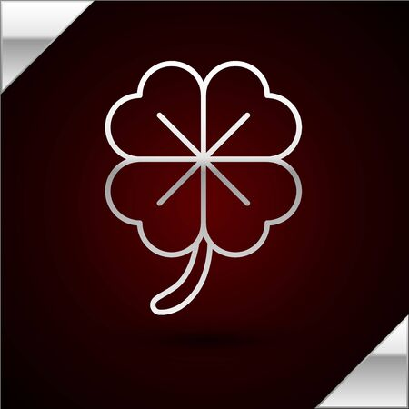 Silver line Four leaf clover icon isolated on dark red background. Happy Saint Patrick day. Vector Illustration