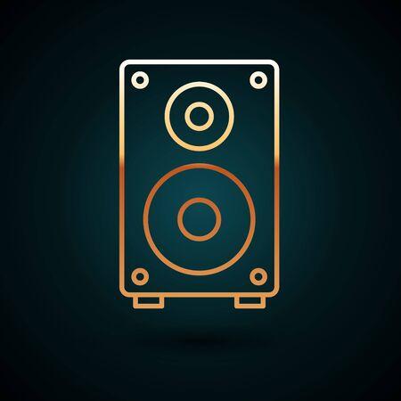 Gold Line Stereo-Lautsprechersymbol auf dunkelblauem Hintergrund isoliert. Lautsprecher des Soundsystems. Musik-Symbol. Musikalische Säulenlautsprecher-Bassausrüstung. Vektorillustration