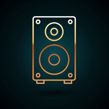 Gold line Stereo speaker icon isolated on dark blue background. Sound system speakers. Music icon. Musical column speaker bass equipment. Vector Illustration
