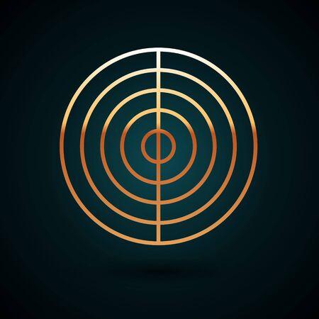 Gold Line Earth-Struktur-Symbol auf dunkelblauem Hintergrund isoliert. Geophysikalisches Konzept mit Erdkern und Abschnittsschichten Erde. Vektorillustration