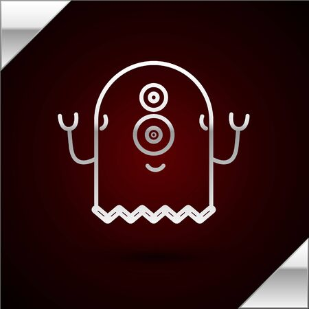 Silver line Alien icon isolated on dark red background. Extraterrestrial alien face or head symbol. Vector Illustration