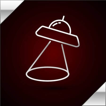 Silver line UFO flying spaceship icon isolated on dark red background. Flying saucer. Alien space ship. Futuristic unknown flying object. Vector Illustration