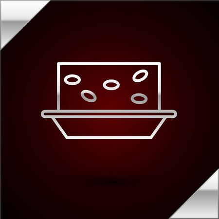 Silver line Nougat with nuts icon isolated on dark red background. Vector Illustration Vettoriali