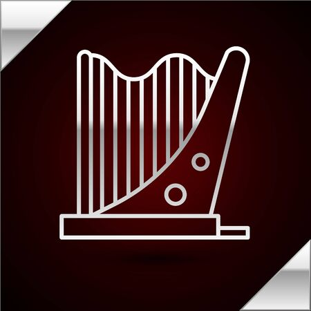 Silver line Harp icon isolated on dark red background. Classical music instrument, orhestra string acoustic element. Vector Illustration