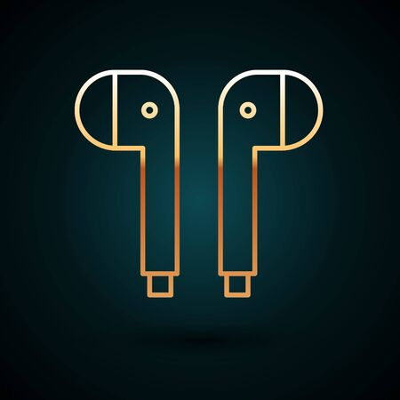 Gold line Air headphones icon icon isolated on dark blue background. Holder wireless in case earphones garniture electronic gadget. Vector Illustration