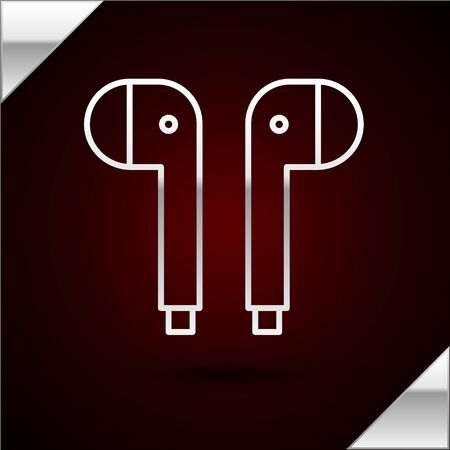 Silver line Air headphones icon icon isolated on dark red background. Holder wireless in case earphones garniture electronic gadget. Vector Illustration