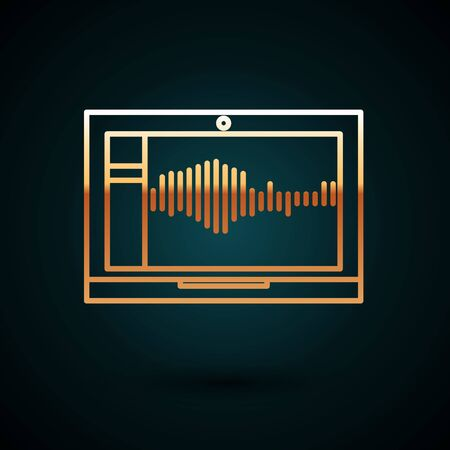 Gold line Sound or audio recorder or editor software on laptop icon isolated on dark blue background. Vector Illustration