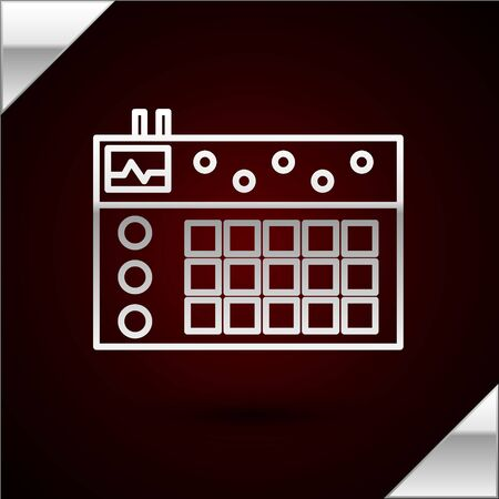 Silver line Drum machine icon isolated on dark red background. Musical equipment. Vector Illustration