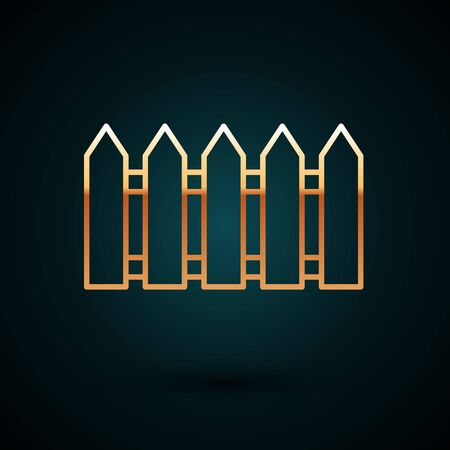 Gold line Garden fence wooden icon isolated on dark blue background. Vector Illustration