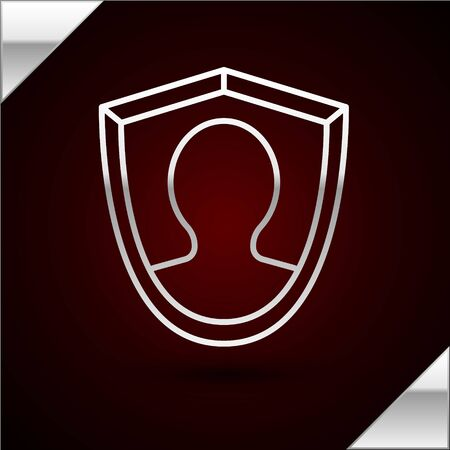 Silver line User protection icon isolated on dark red background. Secure user login, password protected, personal data protection, authentication. Vector Illustration Illustration