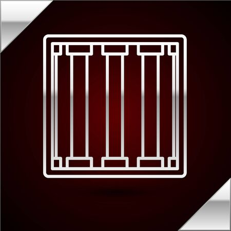 Silver line Prison window icon isolated on dark red background. Vector Illustration