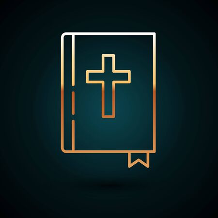 Gold line Holy bible book icon isolated on dark blue background. Vector Illustration