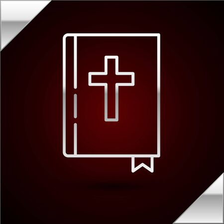 Silver line Holy bible book icon isolated on dark red background. Vector Illustration
