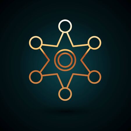Gold line Hexagram sheriff icon isolated on dark blue background. Police badge icon. Vector Illustration Illusztráció