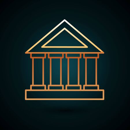 Gold line Courthouse building icon isolated on dark blue background. Vector Illustration Archivio Fotografico - 136831625