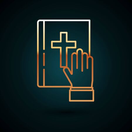Gold line Oath on the Holy Bible icon isolated on dark blue background. The procedure in court. Truth and truth. Promise before god. Vector Illustration Illusztráció