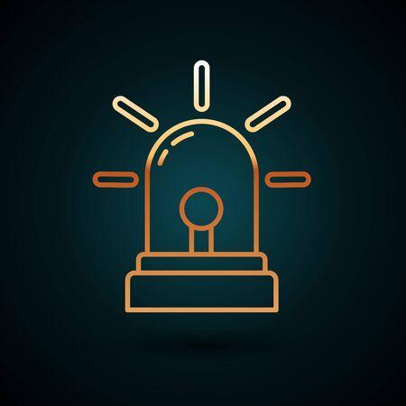 Gold line Flasher siren icon isolated on dark blue background. Emergency flashing siren. Vector Illustration