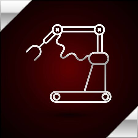 Silver line Industrial machine robotic robot arm hand factory icon isolated on dark red background. Industrial robot manipulator. Vector Illustration