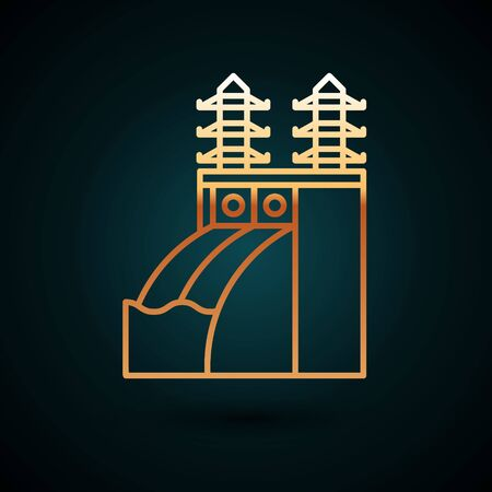 Gold line Nuclear power plant icon isolated on dark blue background. Energy industrial concept. Vector Illustration Vetores