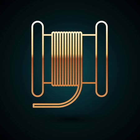 Gold line Wire electric cable on a reel or drum icon isolated on dark blue background. Vector Illustration Ilustração