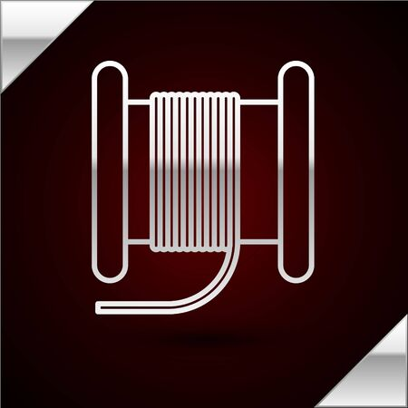 Silver line Wire electric cable on a reel or drum icon isolated on dark red background. Vector Illustration