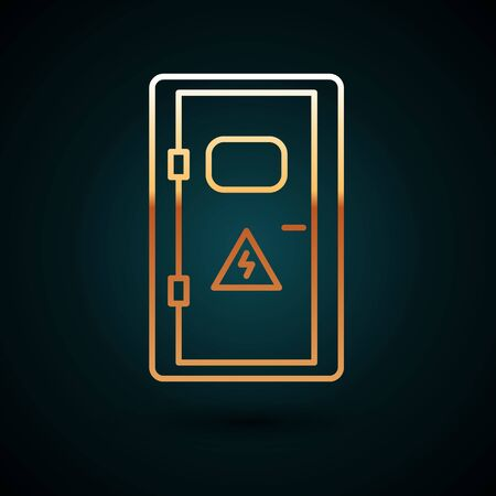 Gold line Electrical cabinet icon isolated on dark blue background. Vector Illustration