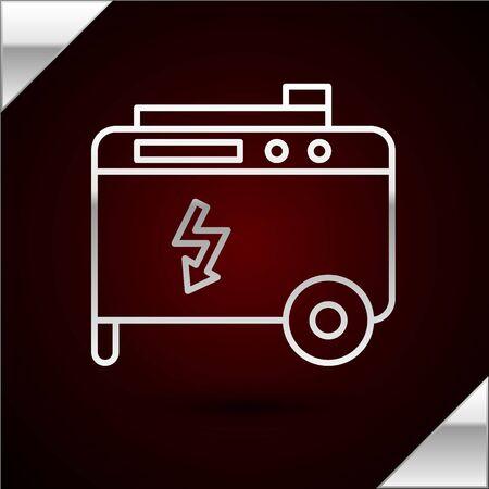 Icono de generador eléctrico de energía portátil de línea plateada aislado sobre fondo rojo oscuro. Grupo electrógeno inmobiliario industrial y doméstico. Ilustración vectorial
