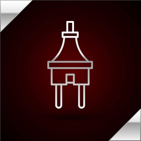 Silver line Electric plug icon isolated on dark red background. Concept of connection and disconnection of the electricity. Vector Illustration