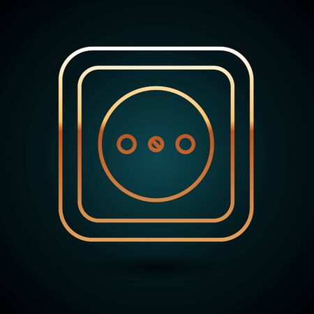 Gold line Electrical outlet icon isolated on dark blue background. Power socket. Rosette symbol. Vector Illustration
