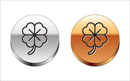 Black line Four leaf clover icon isolated on white background. Happy Saint Patrick day. Silver-gold circle button. Vector Illustration Illustration