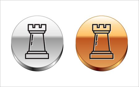 Black line Business strategy icon isolated on white background. Chess symbol. Game, management, finance. Silver-gold circle button. Vector Illustration Vettoriali