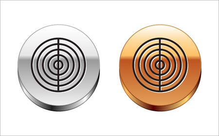 Black line Earth structure icon isolated on white background. Geophysics concept with earth core and section layers earth. Silver-gold circle button. Vector Illustration