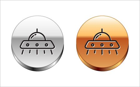 Black line UFO flying spaceship icon isolated on white background. Flying saucer. Alien spaceship. Futuristic unknown flying object. Silver-gold circle button. Vector Illustration
