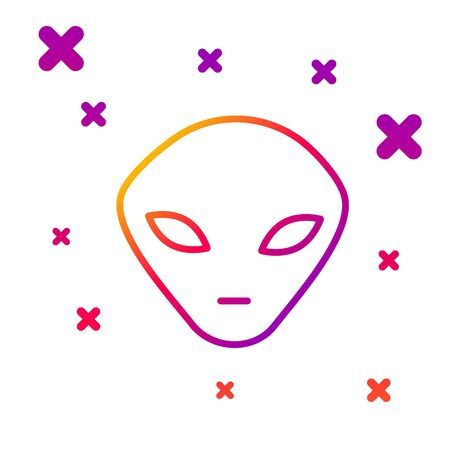 Color line Alien icon isolated on white background. Extraterrestrial alien face or head symbol. Gradient random dynamic shapes. Vector Illustration