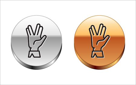 Black line Vulcan salute icon isolated on white background. Hand with vulcan greet. Spock symbol. Silver-gold circle button. Vector Illustration