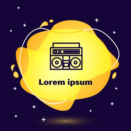 Black line Home stereo with two speakers icon isolated on blue background. Music system. Abstract banner with liquid shapes. Vector Illustration Иллюстрация