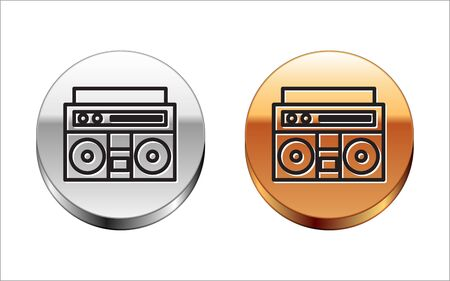 Black line Home stereo with two speakers icon isolated on white background. Music system. Silver-gold circle button. Vector Illustration
