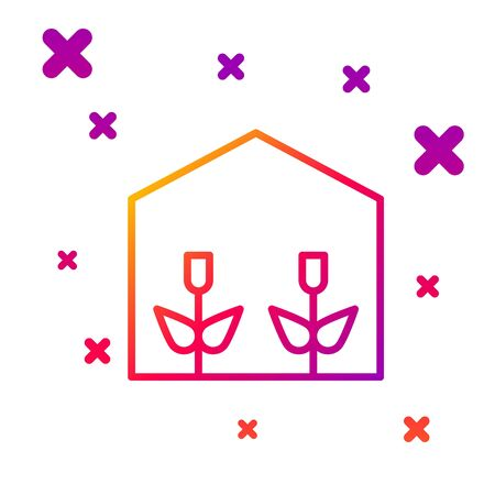 Color line Home greenhouse and plants icon isolated on white background. Gradient random dynamic shapes. Vector Illustration