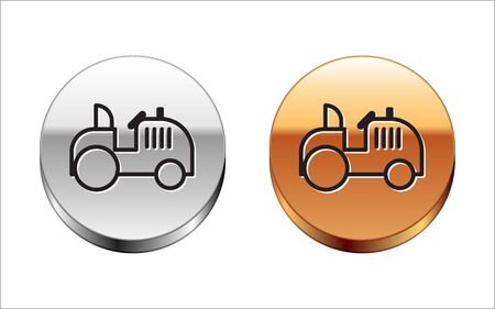 Black line Tractor icon isolated on white background. Silver-gold circle button. Vector Illustration